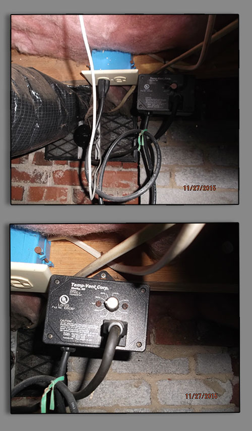 Crawlspace Humidistat Controled Power Vents in Crawlspace