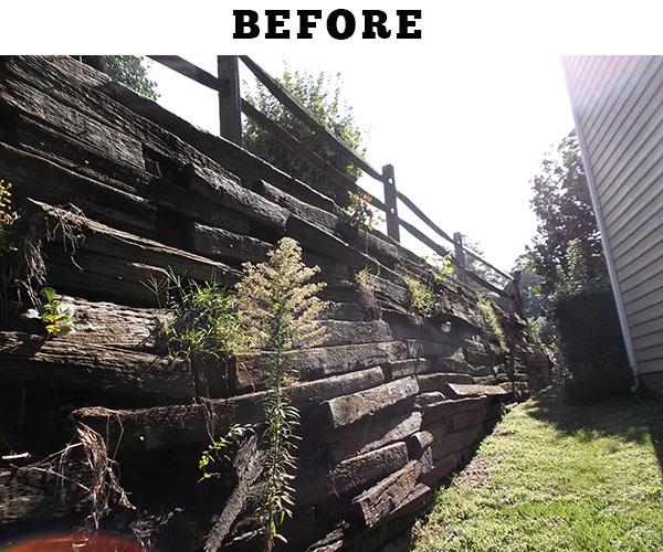 Railroad Tie Retaining Wall Repair